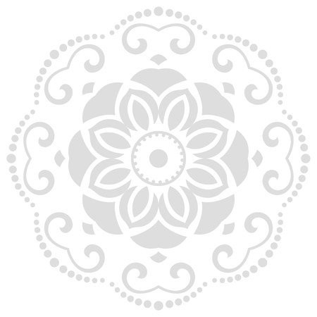 Oriental vector pattern with arabesques and floral elements. Traditional classic round light ornament. Vintage pattern with arabesques.