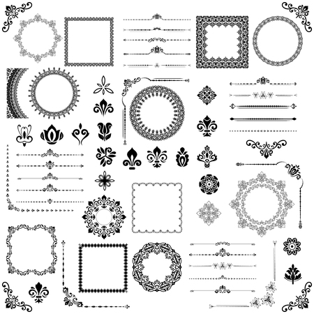 Vintage set of vector horizontal, square and round elements. Vettoriali