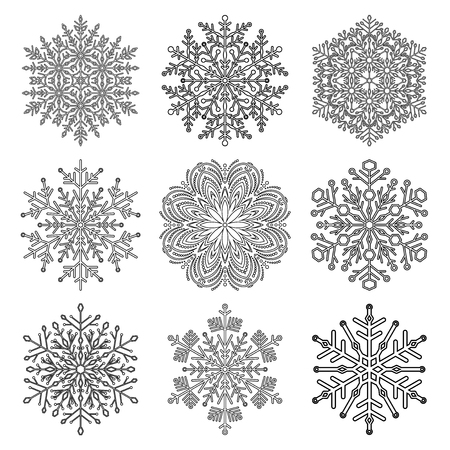 Set of vector snowflakes. Black and white winter ornaments. Snowflakes collection. Snowflakes for backgrounds and designs