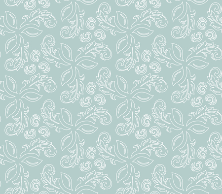 Floral light blue and white ornament. Seamless abstract classic background with flowers. Pattern with repeating elements