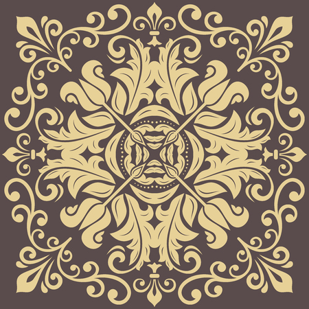 Oriental vector pattern with arabesques and floral elements. Traditional classic ornament. Vintage brown and golden pattern with arabesques Illustration