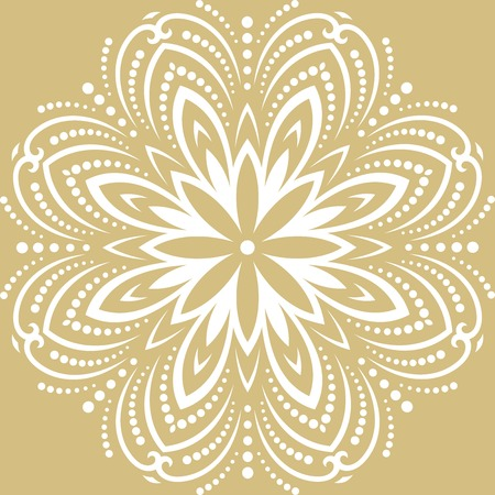 Floral vector pattern with arabesques. Abstract oriental round white ornament. Vintage classic pattern