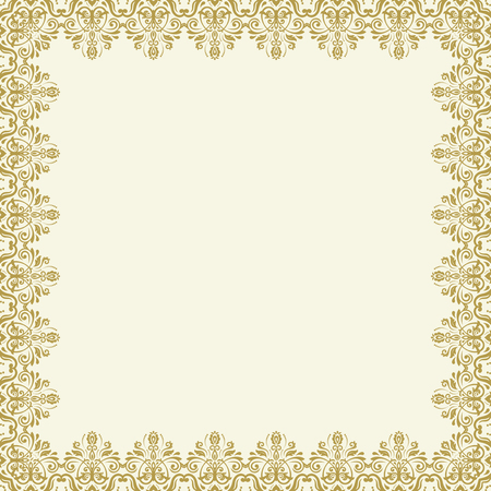 Classic vector square golden frame with arabesques and orient elements. Abstract ornament with place for text. Vintage pattern Illustration
