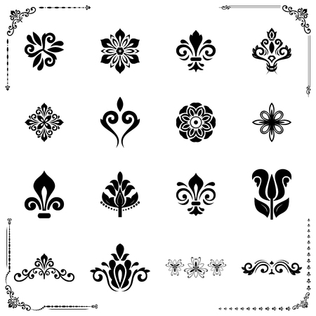 Vintage set of vector vintage and floral elements. Different elements for decoration and design frames, cards, menus, backgrounds. Classic patterns. Set of vintage black and white patterns