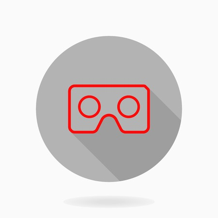 Fine vector icon with red VR logo in circle. Flat design with long shadow. Virtual reality logo