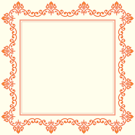 Oriental vector frame with arabesques and floral pattern. Fine greeting card