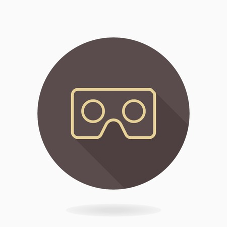 Fine vector golden icon with VR icon in circle. Flat design with long shadow. Virtual reality icon