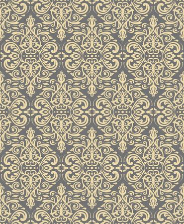 Golden vintage oriental seamless pattern design. Illustration