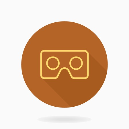 Fine vector icon with golden VR logo in circle. Flat design with long shadow. Virtual reality logo Illustration