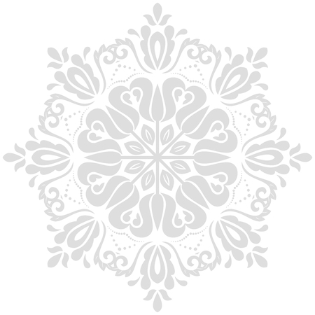 Oriental vector pattern with arabesques and floral light round elements. Traditional classic ornament. Vintage pattern with arabesques Illustration