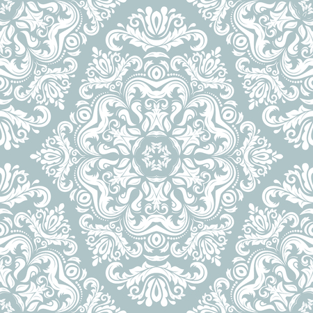 Classic seamless vector pattern. Damask orient ornament. Classic vintage light blue and white background. Orient ornament for fabric, wallpaper and packaging Illusztráció