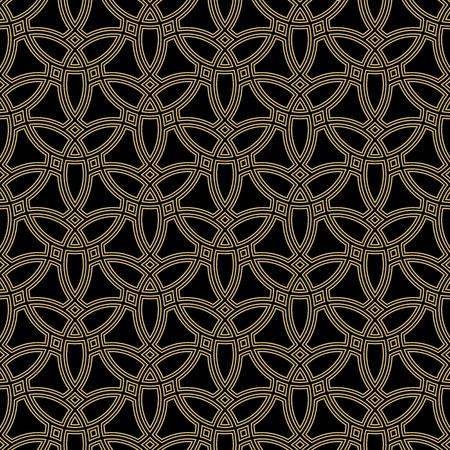 Seamless vector ornament. Modern background. Geometric black and golden modern pattern Illustration