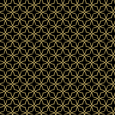 Seamless vector ornament. Modern background. Geometric black and golden modern pattern Çizim