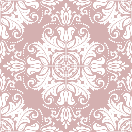 Classic seamless vector pattern. Damask orient ornament. Classic vintage purple and white background. Orient ornament for fabric, wallpaper and packaging