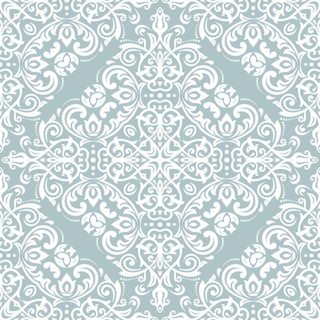 Orient vector classic pattern. Seamless abstract blue and white background with vintage elements. Orient background. Ornament for wallpaper and packaging Illustration