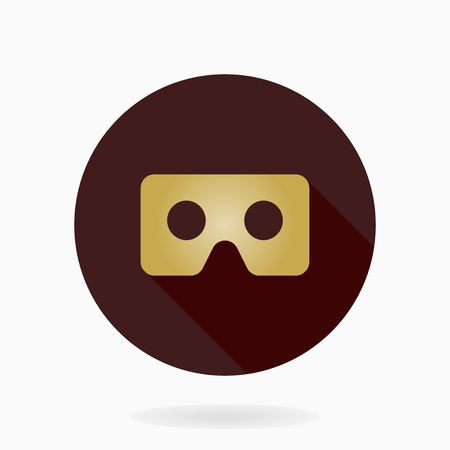 Fine vector golden icon with VR logo in brown circle. Flat design with long shadow. Virtual reality logo