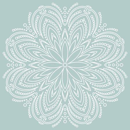 Round snowflake. Abstract winter ornament. Fine white snowflake