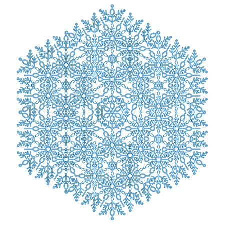 Round snowflake. Abstract winter ornament. Fine blue snowflake 写真素材