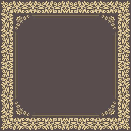 Classic vector square frame with golden arabesques and orient elements. Abstract ornament with place for text. Vintage pattern 写真素材