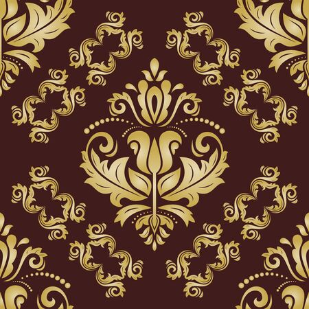 Classic seamless pattern. Traditional orient ornament. Classic vintage brown and golden background