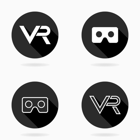 Fine vector icon with VR logo in circle. Flat design with long shadow. Virtual reality black and white logo Illustration