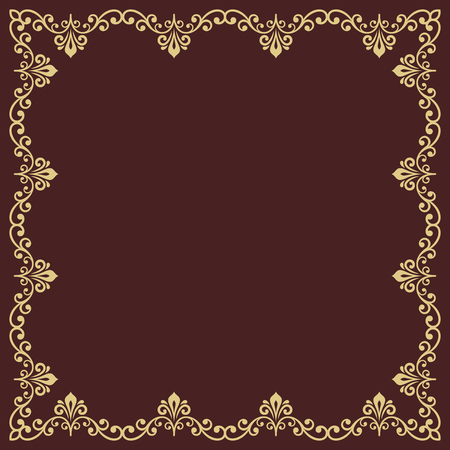 Classic vector square frame with arabesques and orient golden elements. Abstract ornament with place for text. Vintage pattern