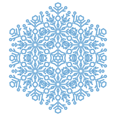Round vector blue snowflake. Abstract winter ornament. Fine snowflake Ilustrace