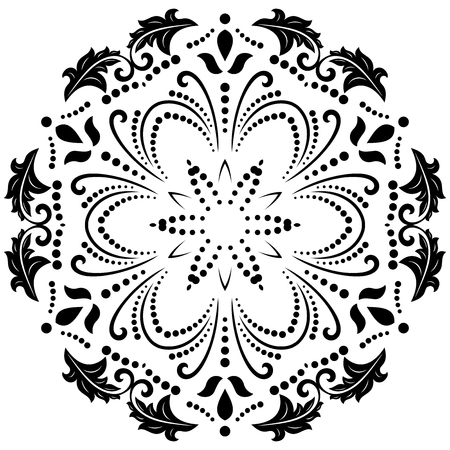 Oriental vector round black and white pattern with arabesques and floral elements. Traditional classic ornament. Vintage pattern with arabesques