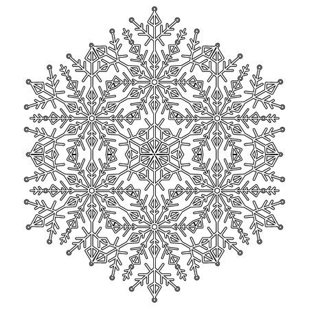 Copo de nieve blanco y negro de vector redondo. Adorno de invierno abstracto. Copo de nieve fino