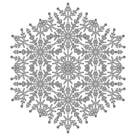 Round vector black and white snowflake. Abstract winter ornament. Fine snowflake