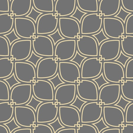 Seamless vector ornament. Modern grey and golden background. Geometric modern pattern