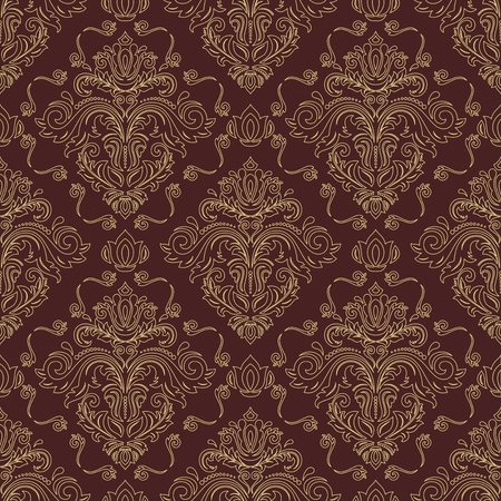 Classic seamless vector pattern. Damask orient ornament. Classic vintage background. Orient golden ornament for fabric, wallpaper and packaging Vettoriali