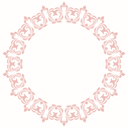 Elegant vintage vector ornament in classic style. Abstract traditional pattern with oriental elements. Classic vintage round pink pattern