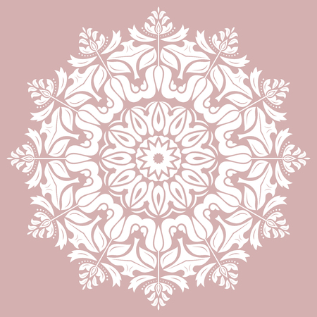 Elegant vintage vector round white ornament in classic style. Abstract traditional pattern with oriental elements. Classic vintage pattern