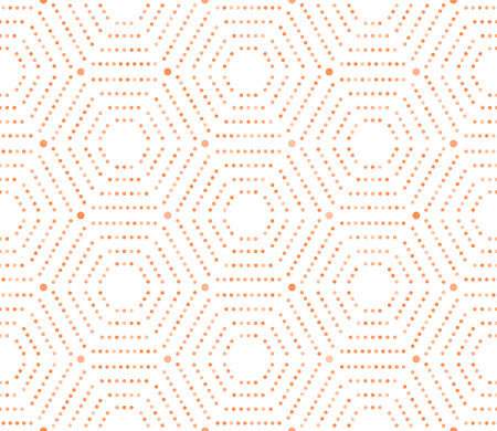 Geometric repeating vector ornament with hexagonal dotted orange elements. Geometric modern ornament. Seamless abstract modern pattern Illustration