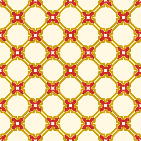 Seamless vector red and golden ornament in arabian style. Geometric abstract background. Pattern for wallpapers and backgrounds