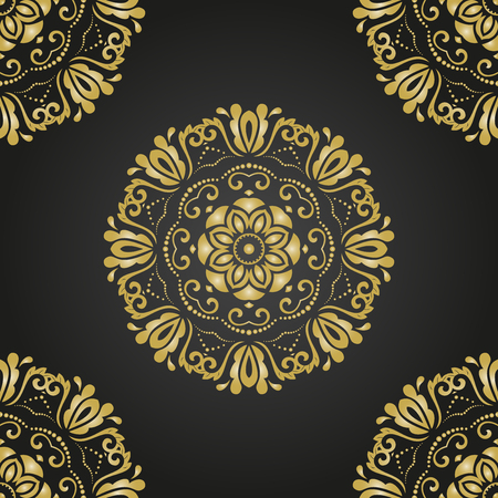 Classic seamless vector pattern. Damask orient golden ornament. Classic vintage background. Orient ornament for fabric, wallpaper and packaging
