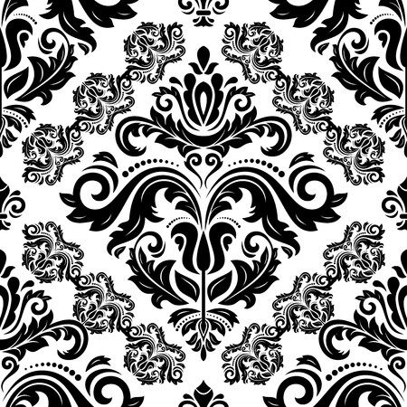 Orient vector classic pattern. Seamless abstract background with black vintage elements. Orient background. Ornament for wallpaper and packaging