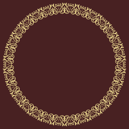 Oriental vector round frame with arabesques and floral elements. Floral golden border with vintage pattern. Greeting card with place for text  イラスト・ベクター素材