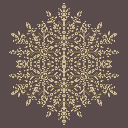 Round vector snowflake. Abstract winter ornament. Golden snowflake  イラスト・ベクター素材