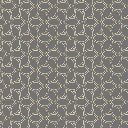 Seamless vector ornament. Modern gray and golden background. Geometric modern pattern