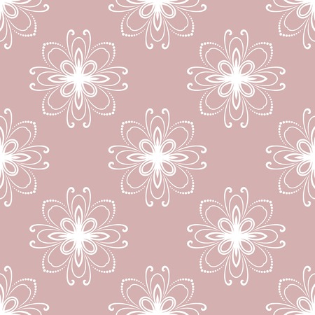 Floral vector ornament. Seamless abstract classic background with white flowers. Pattern with repeating floral elements. Ornament for fabric, wallpaper and packaging