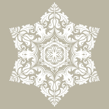 Elegant vintage vector ornament in classic style. Abstract traditional white pattern with oriental elements. Classic vintage pattern