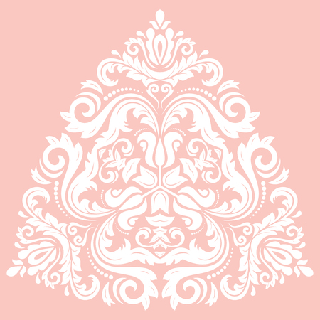Oriental vector triangular pattern with white arabesques and floral elements. Traditional classic ornament. Vintage pattern with arabesques