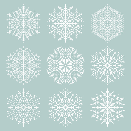 Set of vector snowflakes. White winter ornaments. Snowflakes collection. Snowflakes for backgrounds and designs