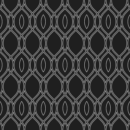 Seamless vector ornament. Modern black and white wavy background. Geometric modern pattern
