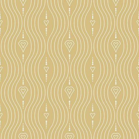 Seamless vector ornament. Modern background. Geometric modern golden and white wavy pattern Illustration