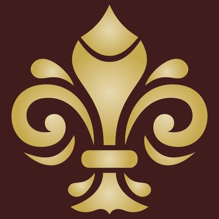 Ornement de vecteur vintage élégant dans un style classique avec lys royal doré. Modèle traditionnel abstrait avec des éléments orientaux. Motif vintage classique