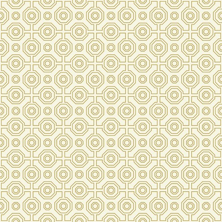 Geometric abstract vector octagonal golden and white background. Geometric abstract ornament. Seamless modern pattern Illustration