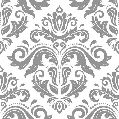 Orient vector classic pattern. Seamless abstract silver background with vintage elements. Orient background. Ornament for wallpaper and packaging